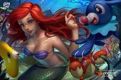 Ariel, popplio, corphish, luvdisc by logancure.deviantart.com on @DeviantArt - More at https://pinterest.com/supergirlsart #pokemon #disney #littlemermaid #little #mermaid #fanart