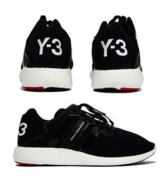 Y-3 Women's Yohji Boost Sneaker from SS15 in Black Lace-up trainer, upper is crafted from black neoprene, signature design and mixed textures, bold panelling and rubber trim, features Adidas three stripe detail and branding. http://www.zocko.com/z/JJoUe