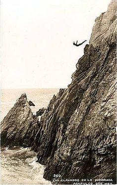 La Quebrada cliff-diver, Acapulco, Mexico, 1937