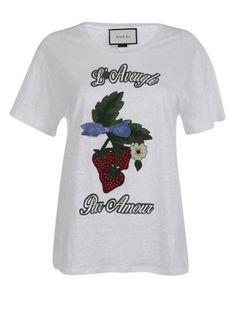 GUCCI T-Shirt Gucci, White Cotton With Embroidered Strawberry Applique. #gucci #cloth #topwear