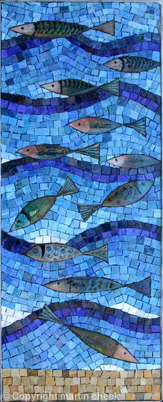 Enamel Fish - Enamels, Mexican Smalti martin cheek glass art: using glass fusions in mosaic art work, private commissions of mosaic artwork, community mosaics, Martin Cheek workshops and classes mosaic art Mosaic Artwork, Mosaic Wall, Mosaic Tiles, Mosaic Glass Art, Blue Mosaic, Mosaic Mirrors, Mosaic Crafts, Mosaic Projects, Mosaic Designs