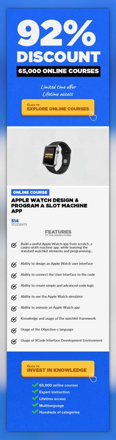 Apple Watch Design & Program a Slot Machine App Mobile Apps, Development #onlinecourses #onlinebusinessideas #onlinelearningclassroom  Hands on step-by-step guide on how to design a casino slot machine Apple Watch app and program it with Objective-c. Learn the fundamentals of Apple Watch Kit by creating a real Casino Slot Machine Watch app. You will learn how to design the user interface, and writ...