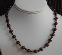 Deep chocolate brown pearl necklace by LoveHAIGHTDesigns on Etsy, $29.00