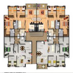 Normandia del Parque II - Constructora Bolívar Duplex House Plans, House Layout Plans, Apartment Floor Plans, House Layouts, Plans Architecture, Concept Architecture, Architecture Design, Residential Complex, Master Plan