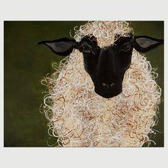 "Abstract Sheep Folk Art Painting: Print of my original Painting, 8 x 10"""