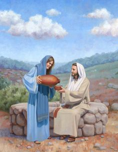 Jesus and the Samaritan Woman at the Well Original by ckornacki Bible Verse Painting, Jesus Christ Painting, Bible Art, Bible Scriptures, Life Of Jesus Christ, Jesus Christ Images, Bible Pictures, Jesus Pictures, Gospel Quotes