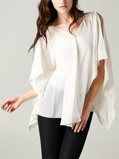 Embroidered Flutter Tunic in Ivory Chiffon