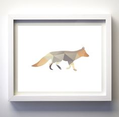 Geometric Fox printable instant download wall art DIY deer wall decor woodland nursery art forest animals print minimalist triangle art by FancyDigitals on Etsy