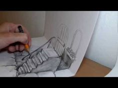 ▶ How to draw 3D stairway illusion on two pages - YouTube