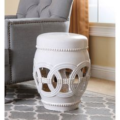Add a classic accent to any space indoors or out with this large ceramic garden stool. The stool features a durable ceramic construction with a polished ... & Safavieh Paradise Harmony White Ceramic Garden Stool (ACS4510A ... islam-shia.org