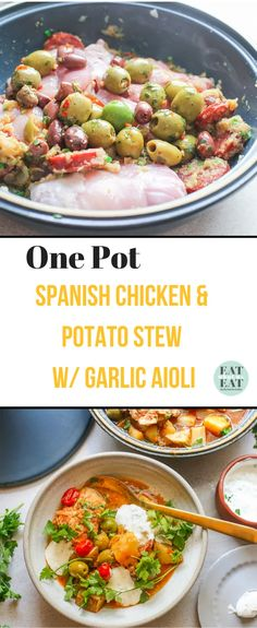 One-Pot Spanish Chicken and Potato Stew with Garlic Aioli Stewed Potatoes, Chicken Potatoes, Spanish Stew, Braised Chicken Thighs, Spanish Chicken, Cooking Tomatoes, Garlic Aioli, Most Delicious Recipe, Middle Eastern Recipes