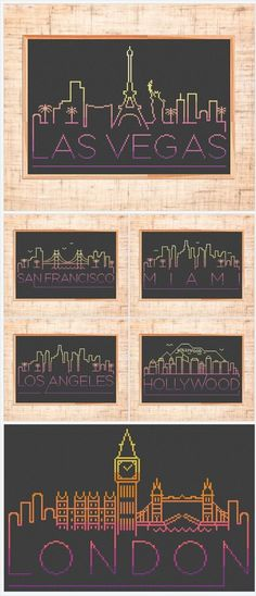 Cities Cross stitch patterns | Modern cross stitch | City skyline embroidery | Las Vegas | London | Los Angeles https://www.etsy.com/shop/MariBoriEmbroidery?ref=seller-platform-mcnav&section_id=23110983