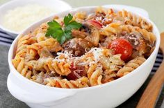 Meatball pasta bake is popular amongst families but it can take a lot of time and effort. Our recipe makes this meatball and pasta dish deliciously simple. Meatball Pasta Bake, Beef Pasta, My Favorite Food, Favorite Recipes, Great Recipes, Healthy Recipes, Simple Recipes, Pasta Casserole, Recipe Collection