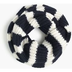 J.Crew Ribbed Wool Striped Infinity Scarf ($86) ❤ liked on Polyvore featuring accessories, scarves, tube scarf, infinity loop scarf, j.crew, j crew scarves and wool infinity scarf