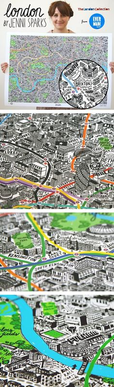 Hand Drawn Map of London by Jenni Sparks, from http://www.evermade.com
