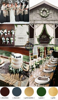 Rustic December Wedding in Charcoal + green + muted gold Winter Wedding Colours | fabmood.com #winter