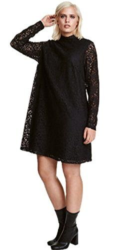 Sexy Plus Size High Mock Neck Floral Lace Long Sleeve Boxy Straight Shift Mini Dress Black US 16 * Visit the image link more details.