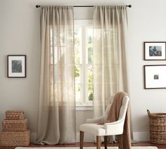 Let light in!! Flax Linen Sheer Drape, Pottery Barn.