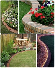 Simple birck garden edging collage