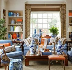 Inspiring Chinese Living Room Decoration Ideas 36 - Home Interior and Design Design Salon, Home Design, Interior Design, Design Ideas, All White Room, White Rooms, Blue And Orange Living Room, My Living Room, Houses