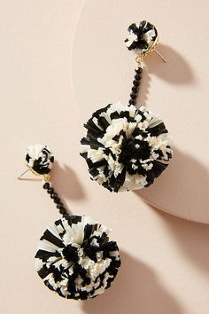 Slide View: 1: Raffia Pom Drop Earrings