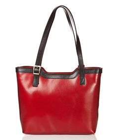 Edmond Louis Rosso Buckle Leather Tote | zulily 13'' W x 10.2'' H x 5'' D 24'' handle length Leather Lined Zip closure Two compartments Interior: one zip and one slip pocket and center divider Exterior: one zip pocket Made in Italy