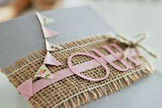 Faire-part de mariage ~ Fanions vintage rose et gris ~