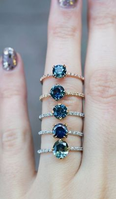 Unique Sapphire Engagement Rings by S. Kind & Co. Available for last minute vacation suggestions! Unique Sapphire Engagement Rings by S. Kind & Co. Available for last minute vacation suggestions! Ring Set, Ring Verlobung, Ring Necklace, Jewelry Rings, Jewelry Accessories, Fine Jewelry, Jewlery, Unique Rings, Beautiful Rings