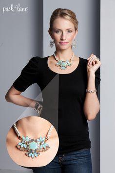 Steal the spotlight with Aqua Fleur! #parklanejewelry #fallfashion #jewelry