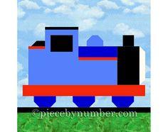 Tank Engine train quilt block pattern paper von PieceByNumberQuilts