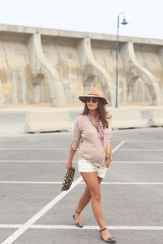 9. camel linen shirt white shorts studded flats - jessie chanes - pregnancy