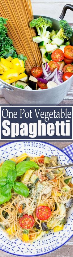 This vegan one pot spaghetti with vegetables is perfect for busy weeknights. It's super quick, easy, incredibly healthy, and so delicious! Find more vegan recipes at veganheaven.org <3