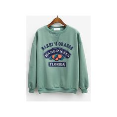 Orange Print Loose Green Sweatshirt ($14) ❤ liked on Polyvore featuring tops, hoodies, sweatshirts, green, loose pullover, sweatshirt pullover, print sweatshirt, long sleeve pullover and long sleeve sweatshirt