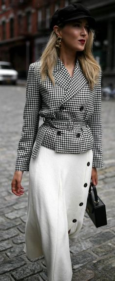 My Favorite Fashion Week Look For Less! // Gingham belted blazer jacket, ivory ribbed midi skirt with buttons, baker boy hat, sculptural gold earrings, black cling stretch booties, black top handle box bag, deep red lip {Alexander Wang, Brixton, Tibi, St
