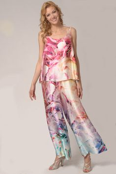 A multi-colored 100% silk Charmeuse two-piece garment of palazzo pants with 61c6c35f9