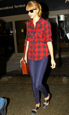 Taylor Swift's red gingham check shirt with jeans at LA