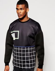 "Sweatshirt by ASOS Soft-touch scuba Crew neck Printed design Dropped shoulder seams Contrast sleeves Fitted cuffs Oversized fit - falls generously over the body Machine wash 100% Cotton Our model wears a size Medium and is 188cm/6'2"" tall"