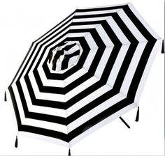 black & white umbrella with tassels