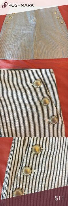 J.crew skirt J.Crew skirt. White with navy stitching. Beautiful skirt. Gently worn J. Crew Skirts Midi