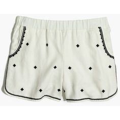 MADEWELL Embroidered Pull-On Shorts ($65) ❤ liked on Polyvore featuring eyelet white and madewell