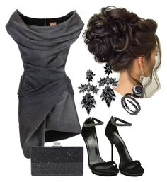 """Dark Grey"" by eda-edos on Polyvore featuring moda, Gucci, Edie Parker ve Fallon"