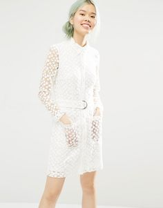 Monki+Button+Up+Lace+Shirt+Dress