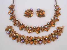 Signed ART Parure Set Vintage Necklace Bracelet  Earrings Rhinestones Cabochons