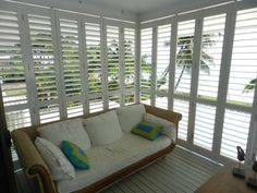 Louvered Exterior Plantation Shutters for Sunrooms, Patios, Screen Porch & Outdoor Kitchen | Design Ideas & Weather Protection | Shade & Shu...