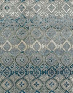 Area Rug - New Moon Rugs -  Bali, grey/blue - Aria Silk Reserve - Hand knotted blend of Tibetan wool, Chinese silk and natural nettle fibers.