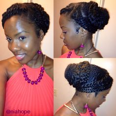 Natural Hair Protective Style. Natural Hair Updo. Natural Hair Wedding Hairstyle. Easy To Do & Beautiful Heat-Free Styling For Natural Hair. Natural Hair Grecian Inspired Hair Do. <3