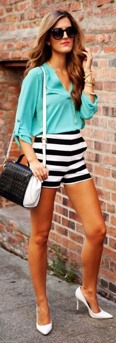 Express Black And White Stripe Shorts by Chic Street Style