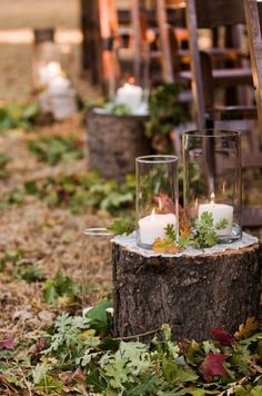 Autumn inspired natural log row markers with hurricane lamps via Style Me Pretty.
