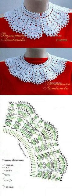 This Pin was discovered by Cat Crochet Collar Pattern, Col Crochet, Crochet Lace Collar, Crochet Lace Edging, Crochet Motifs, Crochet Blouse, Crochet Chart, Thread Crochet, Filet Crochet