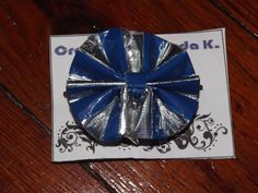 Blue & Silver Duct Tape Hair Bow only $5!